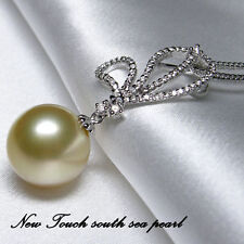 13.6mm golden pearl pendant with 45 points diamond South Sea golden pearl pendan
