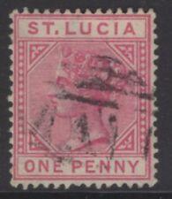 St. Lucia SG32 1883 1d CARMIN-ROSE utilisé
