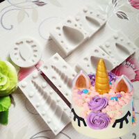 Silicone 3D Unicorn Ear Eye Mold Fondant Cake Chocolate Sugarcraft Mould Decor