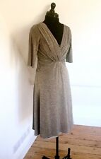 SANGRIA. Glamorous Women's Merallic Gold Fine Knit Dress. Stretch. Sz 8 EUC