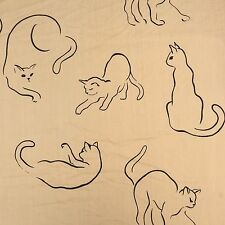 Vtg Springmaid Alex West Cat Queen Fitted Sheet Line Drawing Fabric Cutter