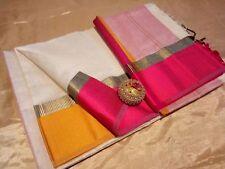 Traditional Indian Maheshwari Handloom Saree Cotton Silk Designer Party Sari M44
