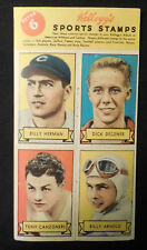 1937 Kellogg's Pep Stamp Panel 6 Billy Herman Chicago Cubs Arnold Canzoneri boxe