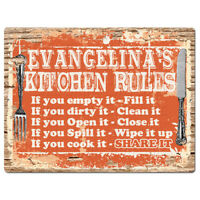PPKR0926 EVANGELINA'S KITCHEN RULES Chic Sign Funny Kitchen Decor Birthday Gift