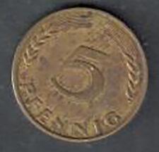 Circulated Germany 5 Pfennig Coin - 1950J