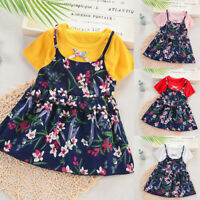 Toddler Baby Kids Girls Ruched Ruffles Floral Princess Party Daily Dress Clothes