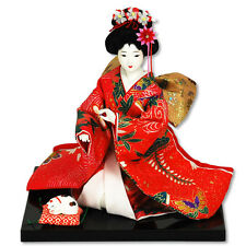 "Japanese OYAMA Doll 9"" Sitting With Cat Multi-Color Brocade Kimono/Made Japan"