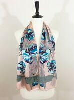 Vintage Georgiou Scarf Silk Pink Turquoise Aqua Floral Rope Tassels Cupids Japan