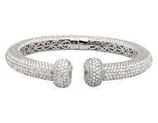 Unisex White Gold Finish Sterling Silver 3D Iced Lab Diamonds Cuff Bracelet 10MM