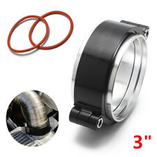 "Black CNC V-Band Clamp Flange Hose Fastener Kit For 3"" Turbo Exhaust Dump Pipe"