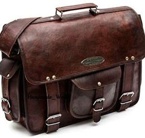 New Men's Handmade Genuine Brown Leather Satchel Messenger Briefcase Laptop Bag
