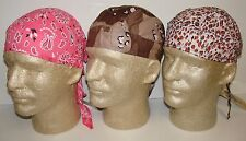 Lot of 3 Ladies Women's Doo Rags Durags Pink Leopard Paisley Camo Biker Headwrap