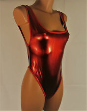 Red metallic shiny wet look sliPpy thong leotard one-piece yoga S/M R15207