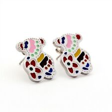 Women Teddy Bear Cute Candy Colors Glaze Ear Stud Pierced Earrings