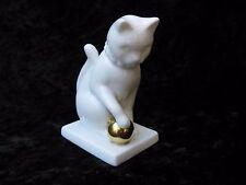 Franklin Mint Blanc de Chine White Gold Ball Curio Cabinet Cat Figurine 1988