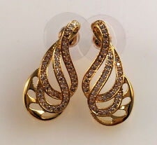 18K Yellow Gold Filled CZ Women Wedding Party Gift Stud Dangle Earrings E4210