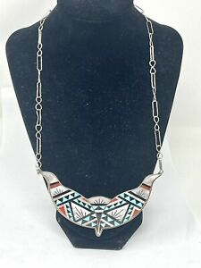 """VTG Zuni S. Boone Sterling Multi Stone Inlay Hook On Necklace 22""""(37.6G)"""