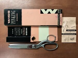 Vintage Wiss Model CC 9 Pinking Shears Scissors Original Box Booklet Chrome