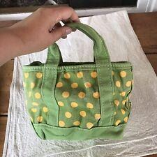 VTG LL BEAN Boat and Tote Mini Small Green Polka Dot Heavy CANVAS Bag Maine USA