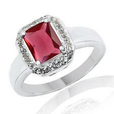 1.98 Cttw Emerald Ruby Halo Wedding Ring 14K White Gold Over Sz-8