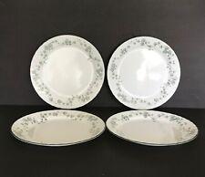 "4 Corelle CALLAWAY IVY 10"" Dinner Plates Green Leaf Swirl Rim"