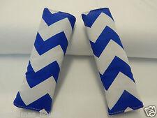 Baby Seat Belt Strap Covers Highchair Stroller- Royal Blue Chevron 100% Cotton