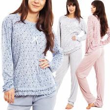 Pyjama Femme Manches Longues Cœurs Pantalon Ruches Nuit Toocool D7527