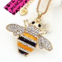 Betsey Johnson Yellow Bee Honeybee Crystal Pendant Sweater Chain Necklace Gift