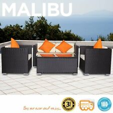 Malibu Black 4pc Outdoor Resin Wicker Patio Sofa Furniture Set Setting