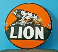 VINTAGE LION GASOLINE PORCELAIN METAL GAS MOTOR OIL AUTO SERVICE STATION SIGN