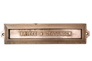 Originale ANTIKE Briefklappe Briefeinwurf Briefschlitz Briefkasten Altbau 1909