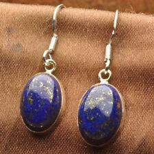 Vintage Style Indigo Natural Lapis Lazuli Gemstone 925  Silver Earrings