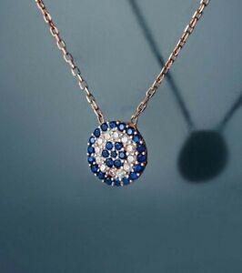 Women's 0.50ct Blue Sapphire & Sim Diamond Circle Chain Pendant 14k Rose Gold FN