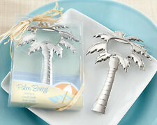 50 Chrome Silver Palm Tree Beach Theme Bottle Opener Bridal Wedding Favor in Box