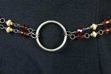 "Plus Size Chain Belt 40-49"" XL XXL 2X 3X Silver Metal Tiered Brown Beads Beaded"