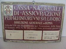 INSEGNA TARGA CASSA NAZIONALE DI ASSICURAZIONE 1935 EPOCA OLD SIGN MADE IN ITALY