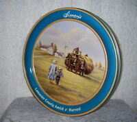 TIN BOX LANCASTER COUNTY PA AMISH FALL HARVEST HORSES HAY SIMON'S CANDY CO 1991