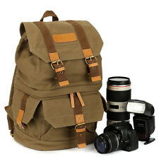 TARION Canvas Camera Case Bag Backpack for Canon EOS 6D 750D 5DS III 70D 1100D