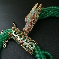 """M011901 19"""" 7 Strands Green Agate Dragon Cz Pave Necklace"""