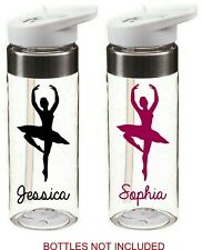 ballerina dancing personalised name sticker for school drinks water bottle kids