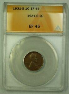 1931-S Lincoln Wheat Cent 1c ANACS EF-45 (C) (WW)
