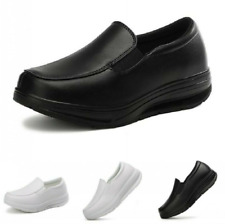 New Womens Slip On Breathable White Nurse Shoes Slip on Loafers Gommino Pumps B