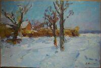 Russian Ukrainian Oil Painting Impressionism Landscape Winter Village snow