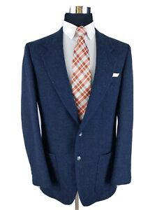 Daniel Hechter Thick Tweed Vintage Sport Coat Jacket Wool 2 Button Mens Blue 40L