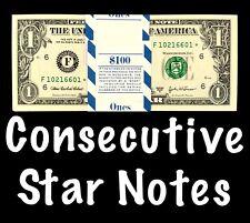 2003 Atlanta 1$ Consecutive Star Notes BEP Strap Replacement Notes UNC F1