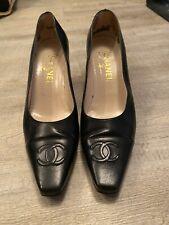 CHANEL Vintage Black leather Block Heel Shoes Size 40