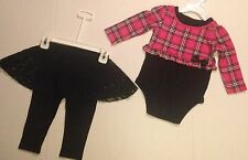 Garanimals Girls Outfit Black Leggings/Lace Skirt & L/S Pink Plaid Top Sz 12Mths