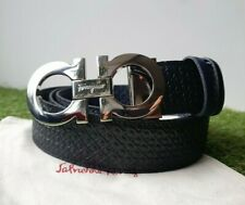 Salvatore Ferragamo black/blue dualside belt with silver tone buckle