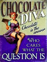 Platte Metall Vintage Pin Up Schokolade Diva - 40 X 30 CM