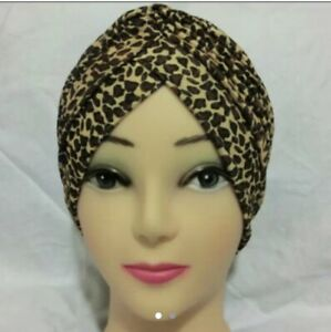 Leopard Print Turban Hat Chemo ,Hat,Bandana,Scarf
